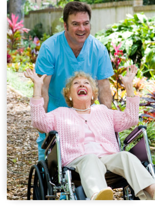 caregiver and patient having a good time